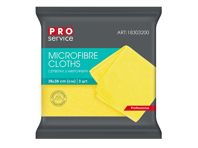 Серветка мікрофібра універсальна 38х38см PRO service Professional (3200) 3шт, жовтий
